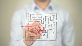 Maze, Path to Success, Drawing on Transparent Screen stock footage