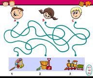 Maze paths task for children. Cartoon Illustration of Education Paths or Maze Puzzle Task for Preschoolers with Children and Toys Stock Image