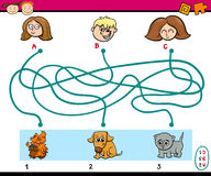 Maze paths task for kids. Cartoon Illustration of Education Paths or Maze Puzzle Task for Preschoolers with Children and Pets Stock Photo