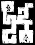 Maze People. Two people separated from each other by a maze Royalty Free Stock Images