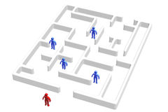 Maze And People. People in the maze and one outside Royalty Free Stock Photo