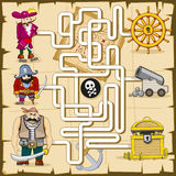 Maze with pirates. Vector game for kids Royalty Free Stock Photos