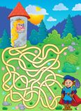 Maze 4 with prince and princess. Eps10 vector illustration royalty free illustration