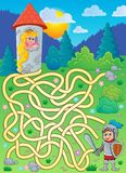 Maze 4 with princess and knight. Eps10 vector illustration Royalty Free Stock Image