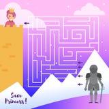 Maze Princess Knight Vector cartoon Isolerad konst på vit bakgrund stock illustrationer