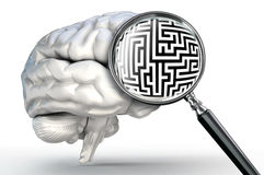 Maze problem on magnifying glass and human brain Royalty Free Stock Photos