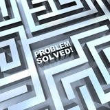 Maze - Problem Solved. A maze containing the words - Problem Solved Royalty Free Stock Photo