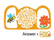 Maze puzzle for kids with bee and flower. Labyrinth illustration, solution included. Stock Image