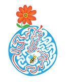 Maze puzzle for kids with bee and flower. Labyrinth illustration, solution included. Stock Photos