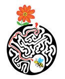 Maze puzzle for kids with bee and flower. Labyrinth illustration, solution included. Royalty Free Stock Photos