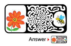 Maze puzzle for kids with bee and flower. Labyrinth illustration, solution included. Stock Images
