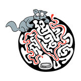 Maze puzzle for kids with cat and milk. Labyrinth illustration, solution included. Royalty Free Stock Images