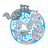 Maze puzzle for kids with cat and milk. Labyrinth illustration, solution included. Stock Images