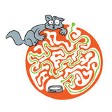 Maze puzzle for kids with cat and milk. Labyrinth illustration, solution included. Royalty Free Stock Photos
