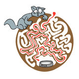 Maze puzzle for kids with cat and milk. Labyrinth illustration, solution included. Royalty Free Stock Photography