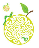 Maze puzzle for kids with caterpillars and apple. Labyrinth illustration, solution included. Royalty Free Stock Photography