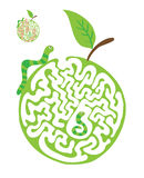 Maze puzzle for kids with caterpillars and apple. Labyrinth illustration, solution included. Stock Photo