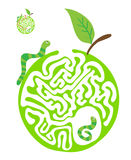 Maze puzzle for kids with caterpillars and apple. Labyrinth illustration, solution included. Stock Photos