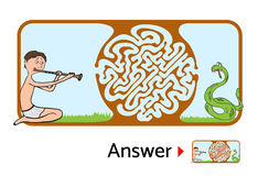 Maze puzzle for kids, labyrinth illustration with solution. Stock Images