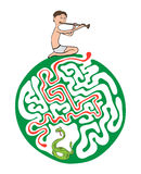 Maze puzzle for kids, labyrinth illustration with solution. Stock Photo