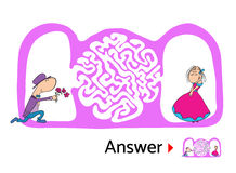 Maze puzzle for kids with man and woman in love, labyrinth illustration with solution. Maze puzzle for kids with man and woman in love, animated labyrinth Royalty Free Stock Photo