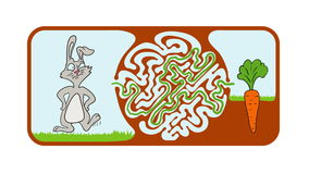 Maze puzzle for kids with rabbit and carrot, labyrinth illustration with solution. stock video footage