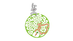 Maze puzzle for kids with rabbit and carrot, labyrinth illustration with solution. stock footage
