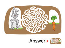 Maze puzzle for kids with rabbit and carrot. Labyrinth illustration, solution included. Royalty Free Stock Photography