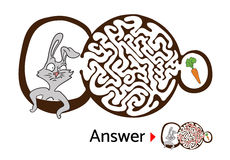 Maze puzzle for kids with rabbit and carrot. Labyrinth illustration, solution included. Royalty Free Stock Photo