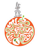 Maze puzzle for kids with rabbit and carrot. Labyrinth illustration, solution included. Stock Photography