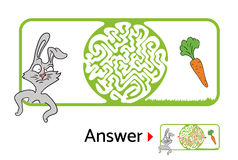 Maze puzzle for kids with rabbit and carrot. Labyrinth illustration, solution included. Royalty Free Stock Image