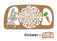 Maze puzzle for kids with rabbit and carrot. Labyrinth illustration, solution included. Stock Images