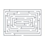 Maze puzzle labyrinth rectangular blue on white Stock Photography