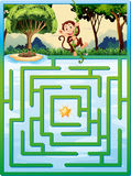 Maze puzzle with monkey in the jungle Royalty Free Stock Images