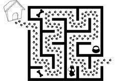 Maze Puzzle of Pet Puppy Dog Paw Prints Trail royalty free illustration