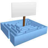 Maze Puzzle with Sign in the Solution Center Royalty Free Stock Image