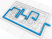 Maze puzzle solved Royalty Free Stock Photography