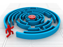 Maze puzzle solved Royalty Free Stock Images