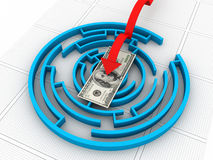 Maze puzzle solved Stock Photography