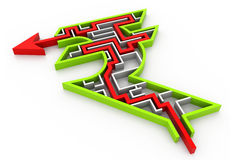 Maze puzzle solved. 3d illustration of Maze puzzle solved Stock Image
