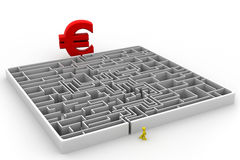 Maze puzzle solved; euro and man;. 3d render of Maze puzzle solved; euro and man Royalty Free Stock Photo