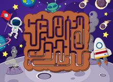 Maze puzzle in space. Illustration vector illustration