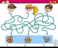 Maze puzzle task for children. Cartoon Illustration of Education Kindergarten Paths or Maze Puzzle Task for Preschoolers with Children and Pets Royalty Free Stock Photos