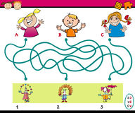 Maze puzzle task for kids. Cartoon Illustration of Education Paths or Maze Puzzle Task for Preschoolers with Children and Clowns Royalty Free Stock Photos