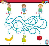 Maze puzzle task for kids. Cartoon Illustration of Education Paths or Maze Puzzle Task for Preschoolers with Children and Fruits Stock Photo
