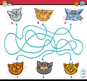 Maze puzzle task for kids. Cartoon Illustration of Educational Paths or Maze Puzzle Task for Preschool Children with Cats Animal Characters Royalty Free Stock Photography