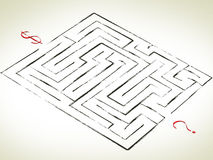 Maze with Question. How can Earn Money! -Question with Dollar royalty free illustration