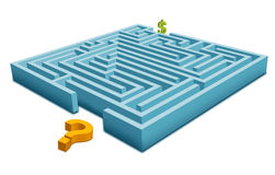Maze with Question. How can Earn Money! -Question with Dollar vector illustration