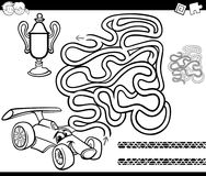 Maze with race car coloring page. Black and White Cartoon Illustration of Education Maze or Labyrinth Game for Children with Racing Car and Cup Coloring Page Stock Photography