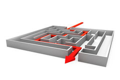 Maze with red arrow Stock Image